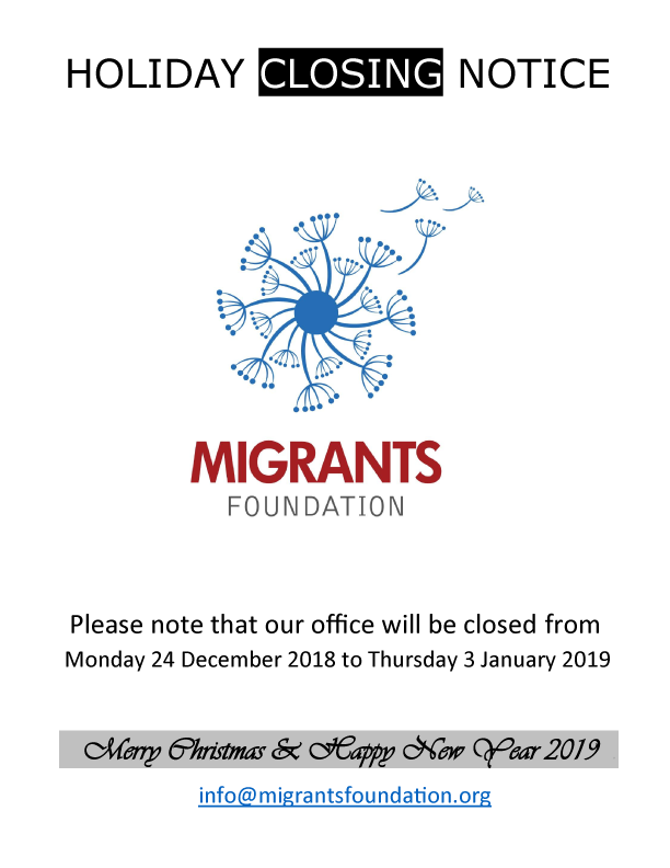HOLIDAY-CLOSING-NOTICE - Migrants Foundation, Inc